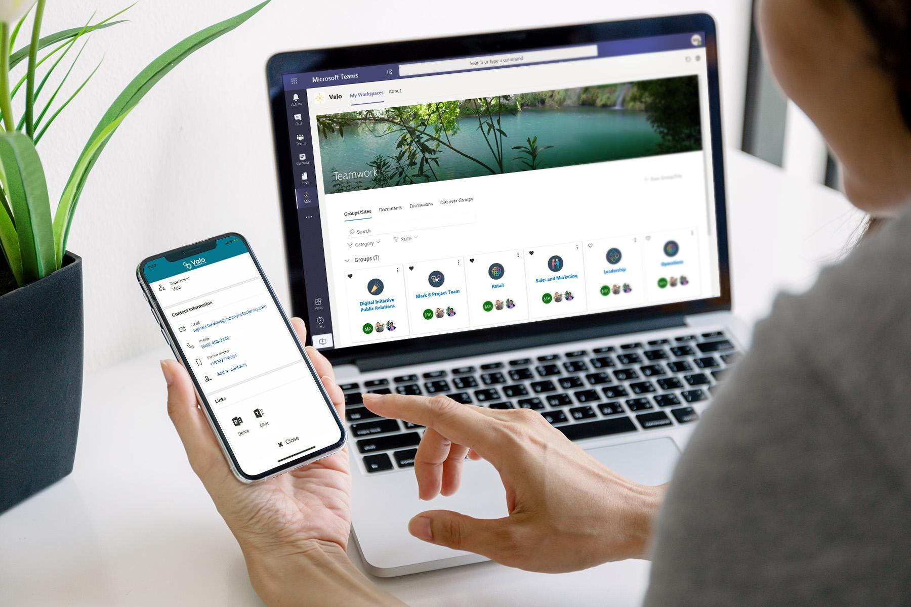 Valo Teamwork and Valo Digital Workplace app with Microsoft Teams integrations