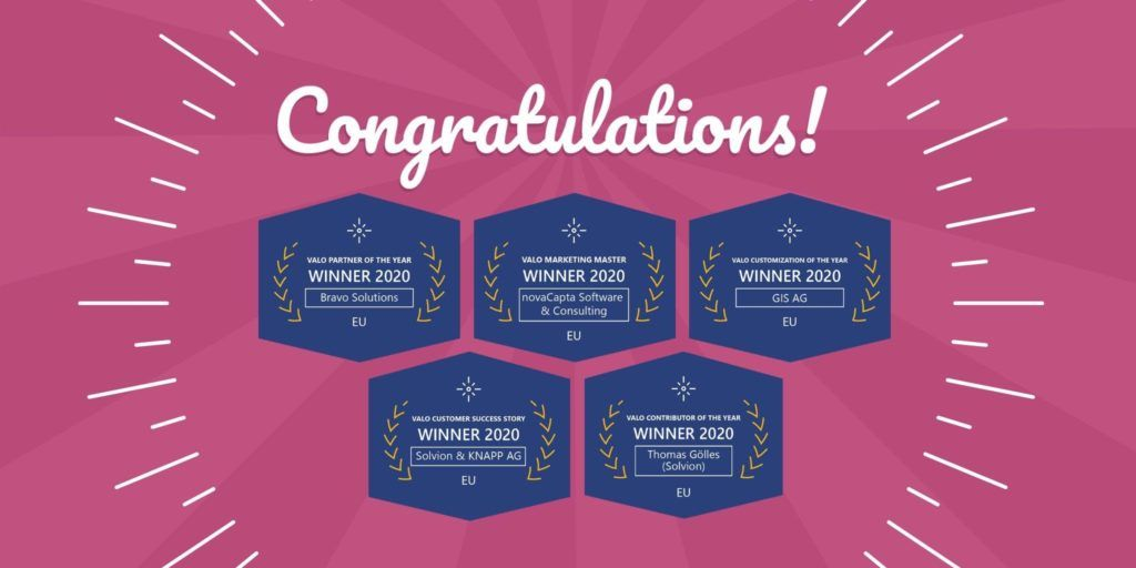 Valo Partner Award Winners EU 2020