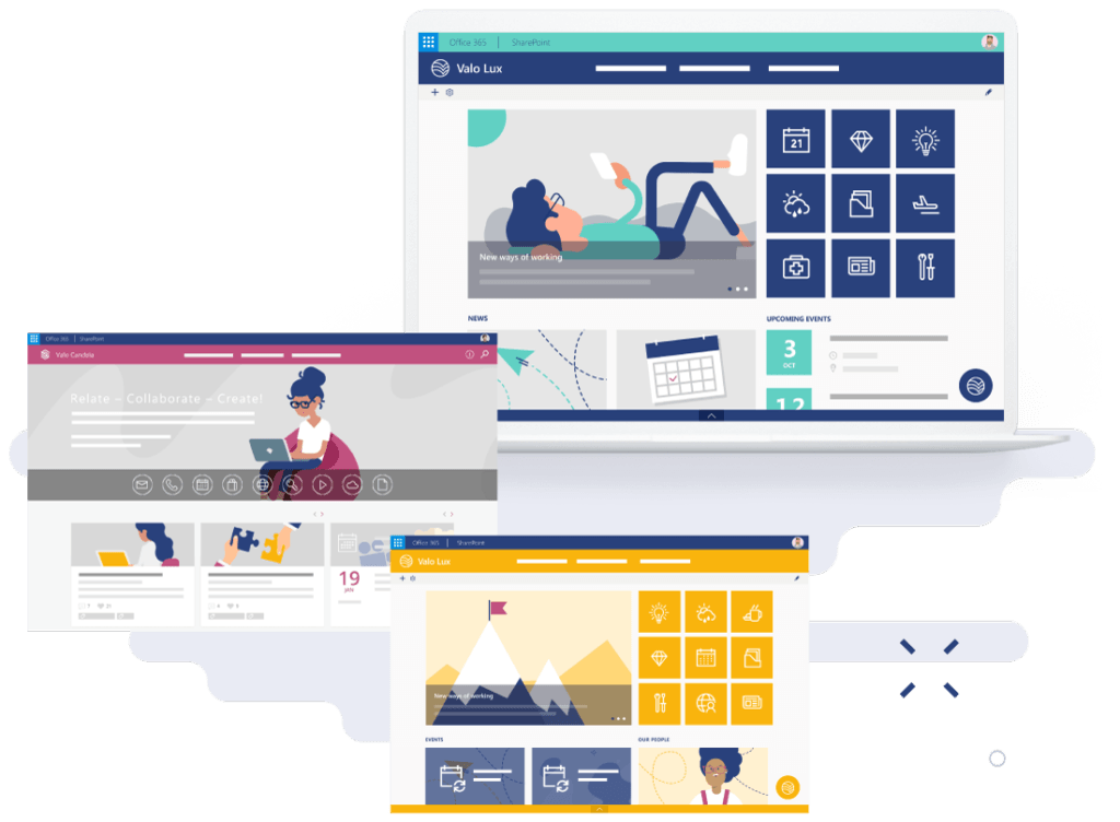 Valo staff intranet has many layouts to choose from