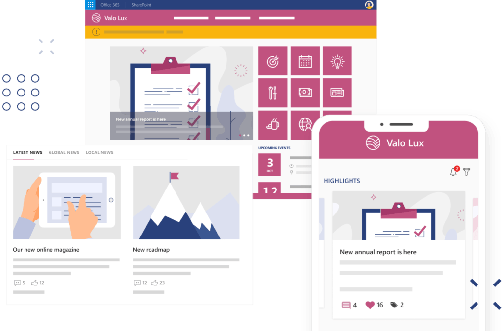 Communicate with valo intranet