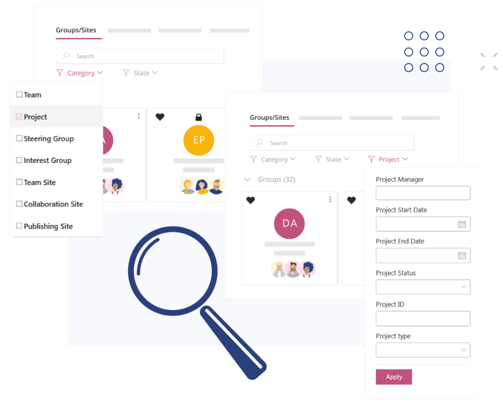 poweful search and filtering in valo teamwork