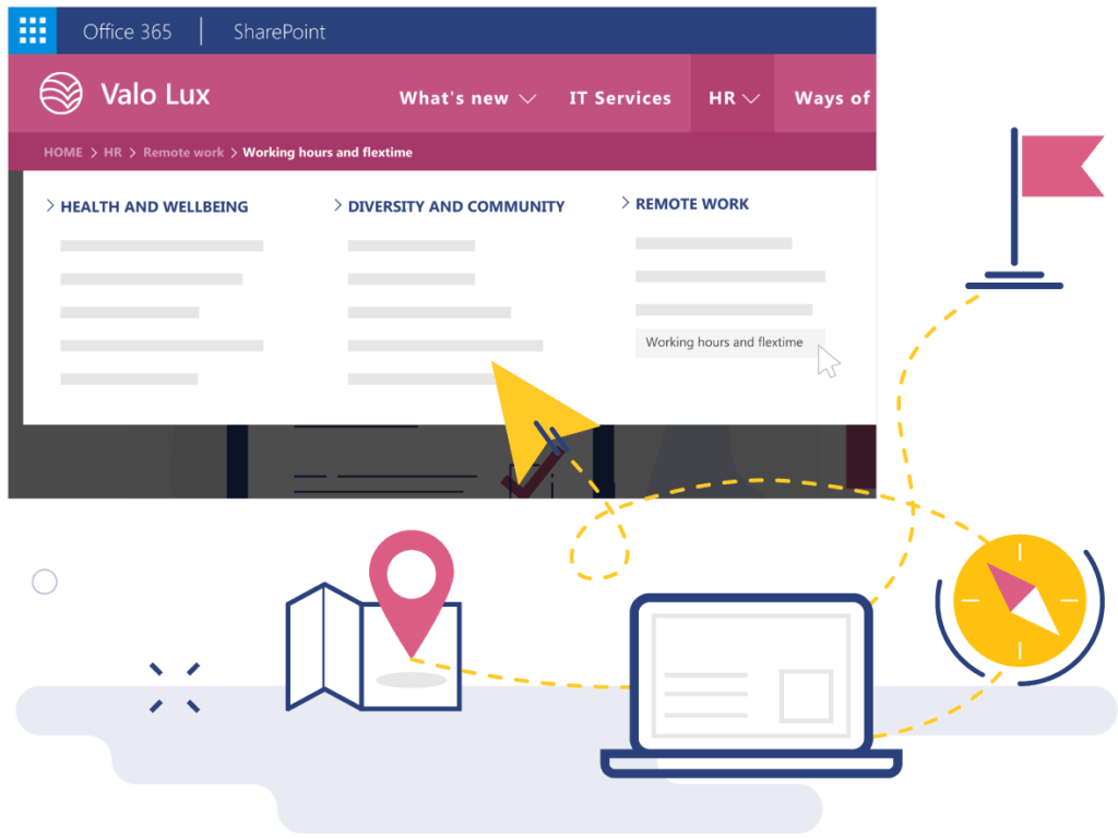 Valo staff intranet has easy-to-use navigation