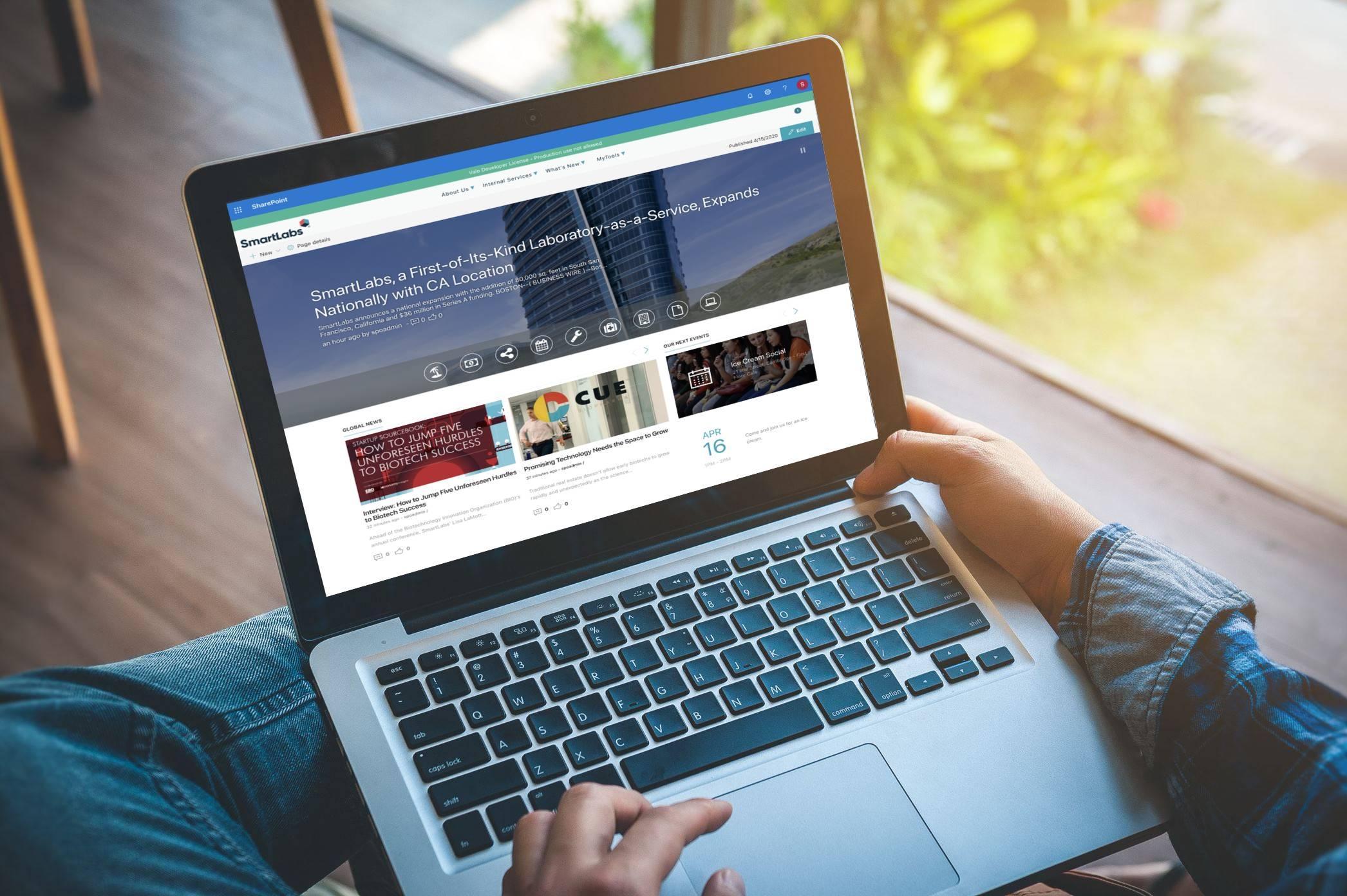 SmartLabs' low-maintenance, user-friendly Valo intranet on laptop