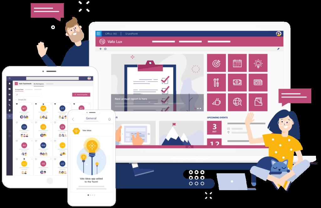Valo ist eine preisgekrönte digitale Arbeitsplatzlösung für Office 356 und SharePoint